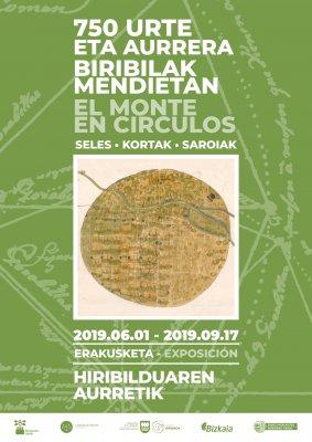 Portada del folleto de la exposición 'El monte en cículos'. Fondo verde y plano antiguo de un sel.